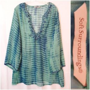 Soft Surroundings Green Blue Embroide Detail Tunic